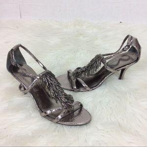Nina Silver Fringe Glittery Heels Shoes Party
